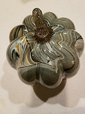 Hand Blown Glass Art Sculpture Pumpkin