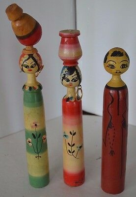 Vintage Asian Chinese Wood Doll Lot of 3 Lot 2