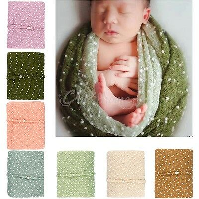 Newborn Baby Infant Stretchy Cocoon Mohair Wrap Swaddle + Headband Photo Props