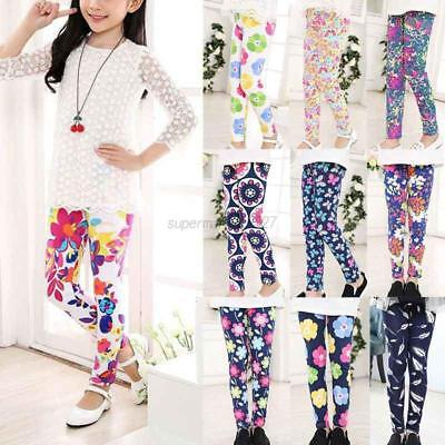 Kid Girl Floral Printed Colourful Print Kid Stretchy Legging Pant Yoga Gym Funky