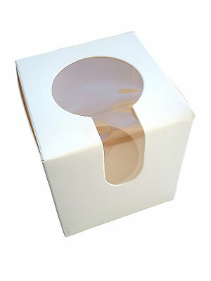 50 x Single hole cupcake box with window and holder insert (G14/50)