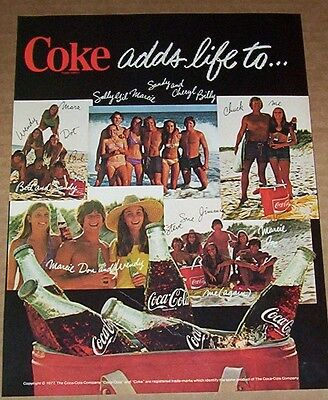1977 vintage ad - COKE Coca-Cola soda pop - guys girls beach 1-PAGE Print AD