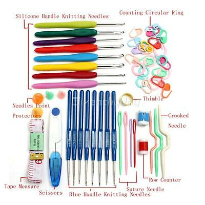Crochet Hook Set Soft Grip Handles Knitting Needles Multi Colour Aluminum 16Pcs