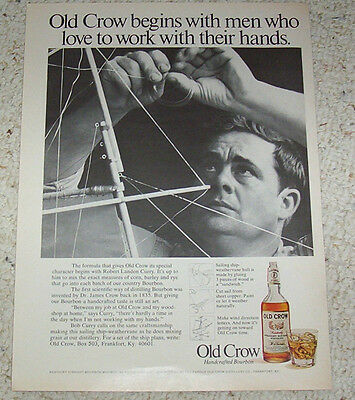 1970 ad page - Old Crow Kentucky Whiskey ROBERT LANDON CURRY ship weathervane AD