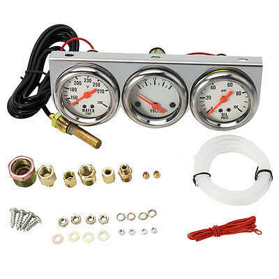 3 in 1 Universal 2.27'' Water Temp Voltage Oil Pressure Psi Gauge Complete Set