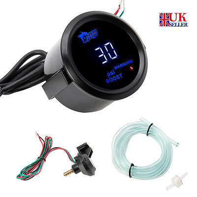 "2"" 52mm Universal Car Auto Digital Turbo Boost Gauge Meter Blue LED PSI kit"
