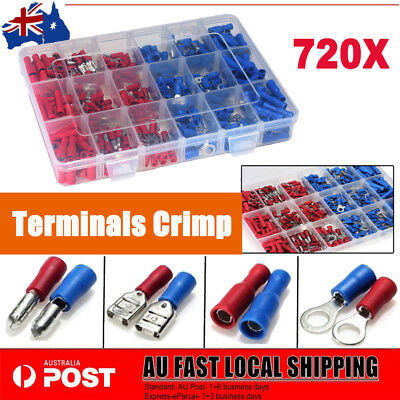 Electrical Wire Connectors 720pcs Assorted Insulated Crimp Terminals Spade Kits