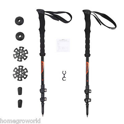 2x Adjustable Trekking Travel Poles Anti-Shock Walking Hiking Sticks Lightweight