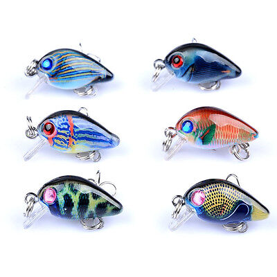 6pcs/lot Mini Colorful Crank Bait Bass CrankBaits Tackle Fishing Lures 3cm/1.5g