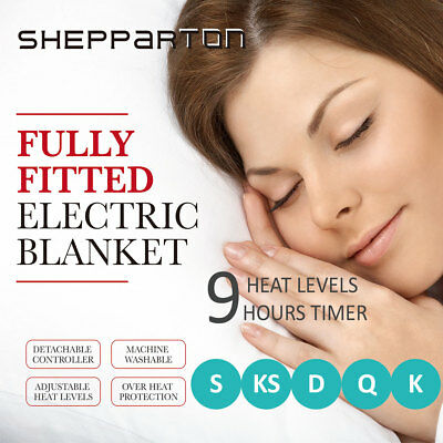 Fleecy Electric Blanket Heated Fitted Washable Fleece Underlay S/D/Q/K/KS