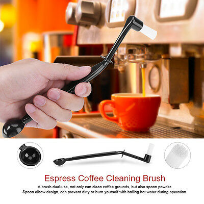 Nylon Coffee Brush Espresso Machine Group Head Kitchen Cleaning Spoon Black