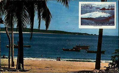 Chile Südamerika Puerto Escondido Oaxaca mit Briefmarke ~1977 color Postkarte