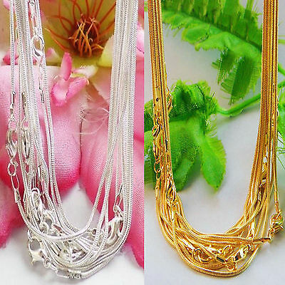5/10 Silver/Gold Plated Lobster Clasp 1mm Snake Chain  Charm Bead Necklace 43cm