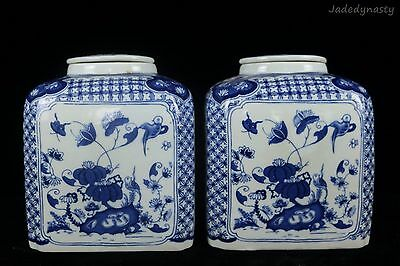 A Pair Chinese Beautiful Blue and White Porcelain Flowers Tea Caddies