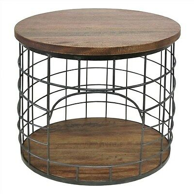 Bistro Solid Mango Wood Timber & Metal Round Side Table - Charcoal - 45Cms.
