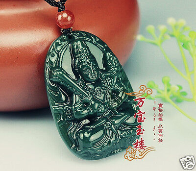 100% Natural Hand-carved Chinese Dark green Hetian Jade Pendant Amulet Guanyin