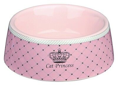 Ceramic Cat Bowl Dish Pink With Cat Princess Logo 24780