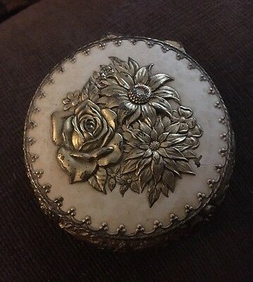 Vintage Gold Tone  Footed Floral Trinket Box Metal Japan Ornate Hinged Lid