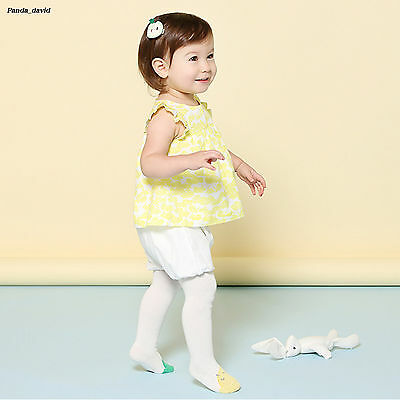 Kawaii Grils Toddler Cotton Knit Baby Tights White Plain Newborn Fall Pantyhose