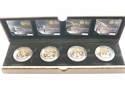 2012 London Olympic Games Countdown £5 Five Pound Gold Proof 4 Coin Set Box Coa