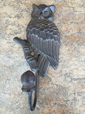 Heavy Cast Iron OWL Sitting on Branch Heavy Metal Hanging Coat Towel Hook