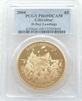2004 Gibraltar D-Day Landings £5 Five Pound Gold Proof Coin PCGS PR69 DCAM