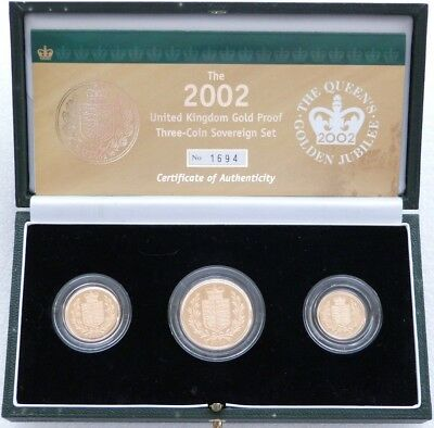 2002 Great Britain Golden Jubilee Sovereign Gold Proof 3 Coin Set Box Coa
