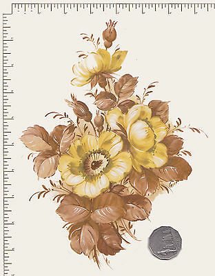 "1 x Large Yellow floral Waterslide ceramic decal.  Approx. 9 1/2"" x 6 1/2"" PD861"
