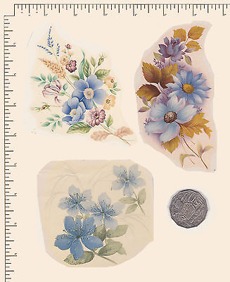 3 x Waterslide ceramic decals Decoupage Assorted blue florals Flowers PD725
