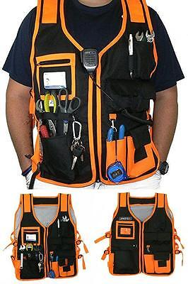 New Construction Mechanic Electrician Tools Organizer Vest w/ Reflective Strips