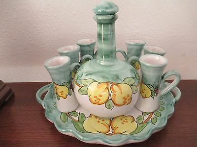 VIETRI - Ceramica Artistica Falcone, 8-Piece Limoncello Set, Excellent Condition
