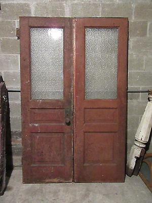 ~ ANTIQUE DOUBLE ENTRANCE FRENCH DOORS  ~ 52 x 81.25 ~  ARCHITECTURAL SALVAGE