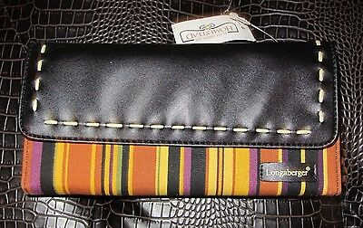 Longaberger Large WALLET w/ Removable CHECKBOOK ~ AUTUMN STRIPE Fabric NWT
