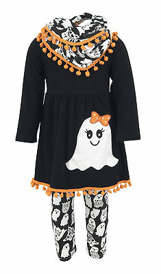 Girls Ghost Halloween Outfit Infinity Scarf Boutique Toddler Kids Clothes 2t 3t