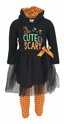 Girls Scary Cute Black Cat Halloween Hoodie Outfit Kids Clothes 2t 3t 4t 5 6 7 8