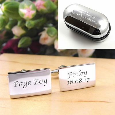 Silver Rectangle Engraved Personalised Page Boy Wedding Cufflinks
