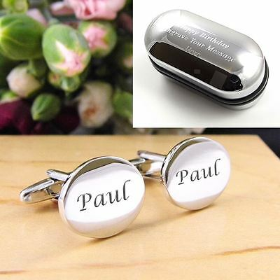 Engraved Personalised Silver Oval Wedding Cufflinks - Any Text ENGRAVED