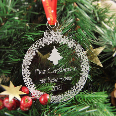Personalised Christmas Tree Decoration Engraved Bauble Gift - New Home Bauble