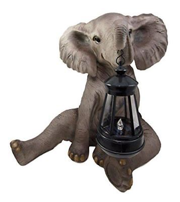 Melee The Pachy Elephant Garden Patio Figurine W/ Solar Lantern Statue Large