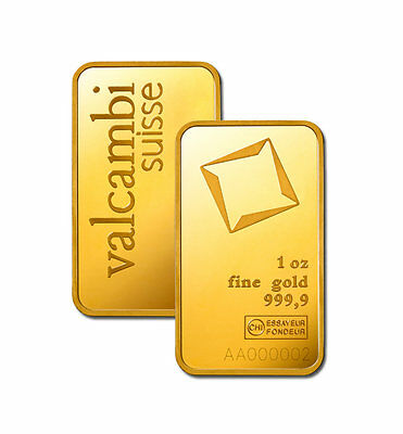 ON SALE! 1 oz Valcambi Gold Bar (New w/ Assay)