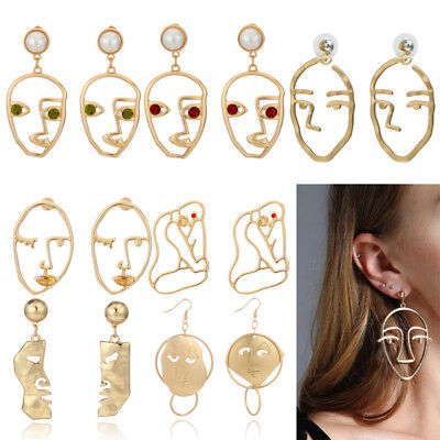 Retro Art  Abstract Cutout Face Dangle Drop Gold Earrings Lady Hollow Jewelry FO