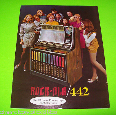 442 By ROCK OLA 1970 ORIGINAL JUKEBOX  PHONOGRAPH SALES FLYER FOLD-OUT BROCHURE