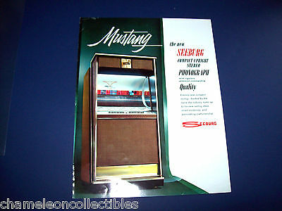 MUSTANG By SEEBURG 1964 ORIGINAL JUKEBOX PHONOGRAPH ADVERTISING FLYER BROCHURE