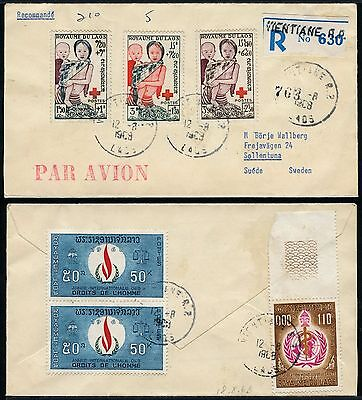 Laos 1968 Reko-Brief Rotes Kreuz Red Cross 31-33 plus ZuF Vientiane Schweden/ 55
