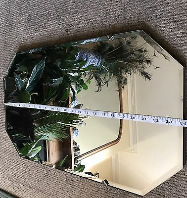Beautiful vintage framless bevel edge mirror 1950S 60S