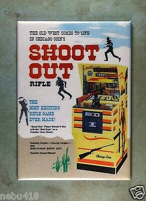 "Vintage Style Western  Arcade Ad Refrigerator Magnet 2 1/2"" x 3 1/2"" Shoot Out"