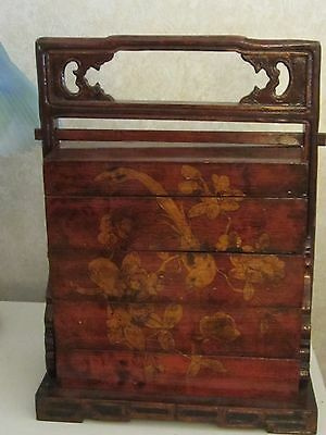 Antique Red Lacquer Food Basket Circa 1850-1870 w/COA. Decorated w/New Paintings