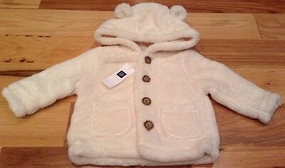 Baby Gap Girls Or Boys 0-3 Months Ivory / Cream White Fuzzy Coat With Ears. Nwt