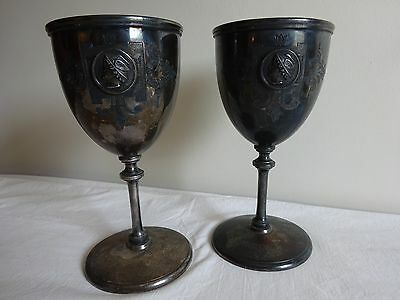 Antique Silver Plate MERIDEN Medallion Chased Engraved Victorian Figural Goblets