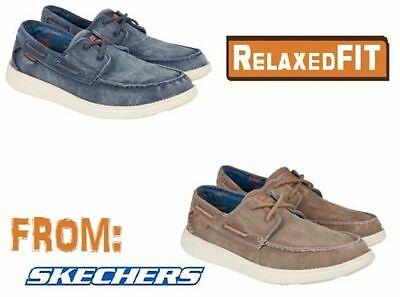 4dbbdb038cb6 SKECHERS MENS CANVAS Relaxed Fit Boat Shoe Vintage Wash Brown 11 13 ...